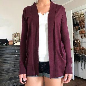 Loft maroon open cardigan. Size XS